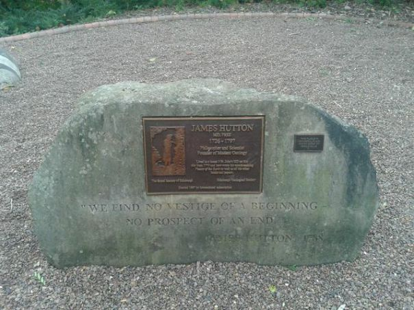 Rock with plaque commemorating James Hutton, Geologist